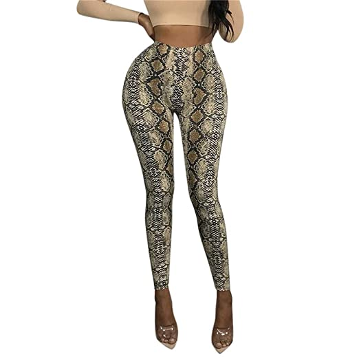 51f242a16443 Orangeskycn Women Slim Snakeskin Print Elastic Waist Casual Pants Leggings  Trousers Bodycon Catsuit Brown