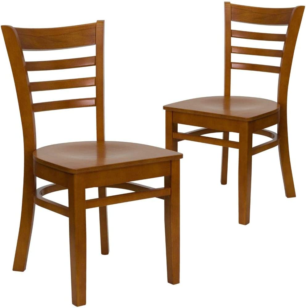 Flash Furniture 2 Pack HERCULES Series Ladder Back Cherry Wood Restaurant Chair