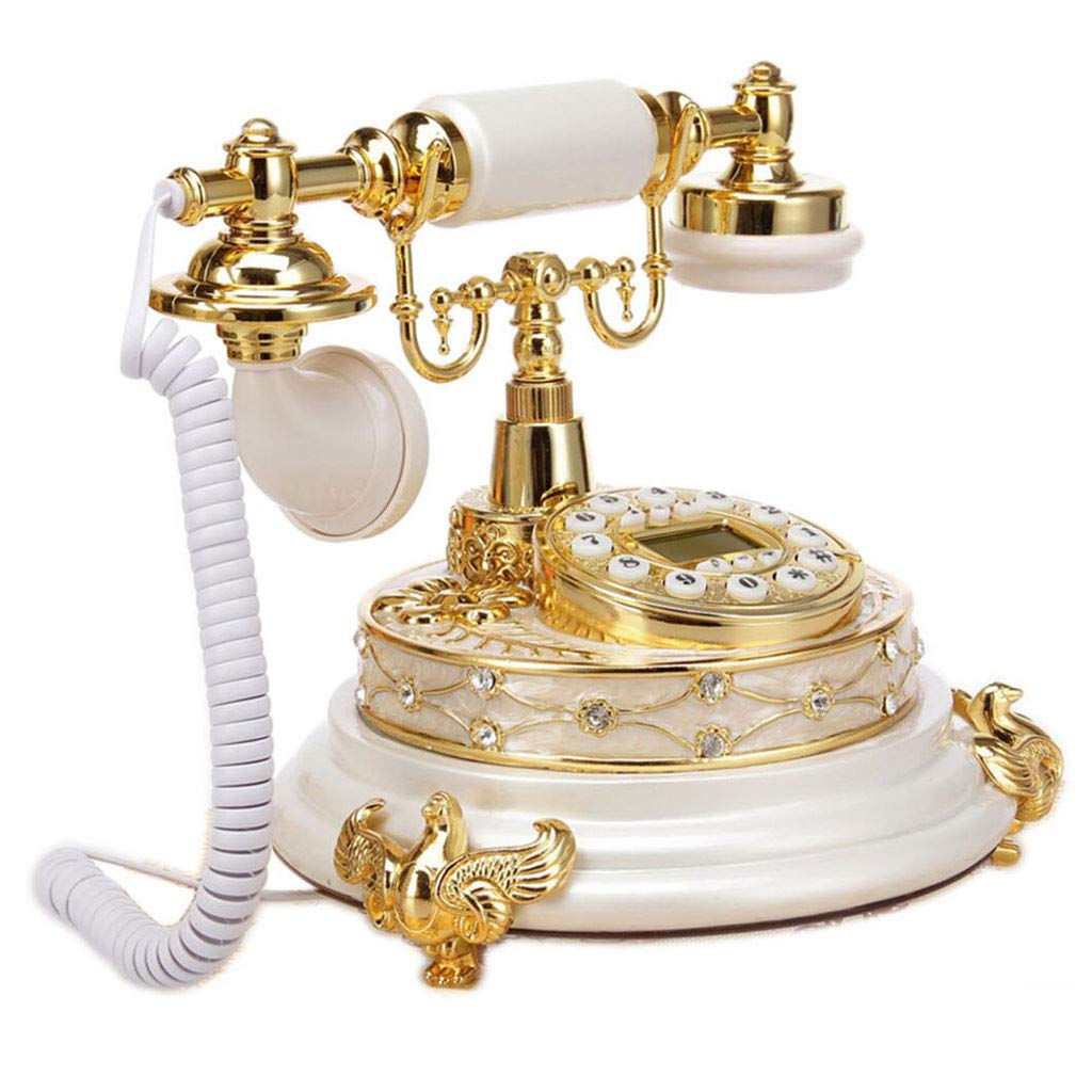 LCM Diamond Retro Phone Resin Metal Button Style Rural Fashion Creative Seat European Home Office 2 Color (Color : White) by LCM
