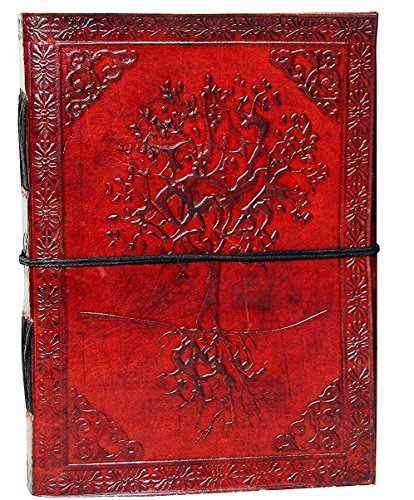 Fair Trade Leather - SKH36 Embossed Leather Blue Stone 120 Page Unlined Journal with Clasp