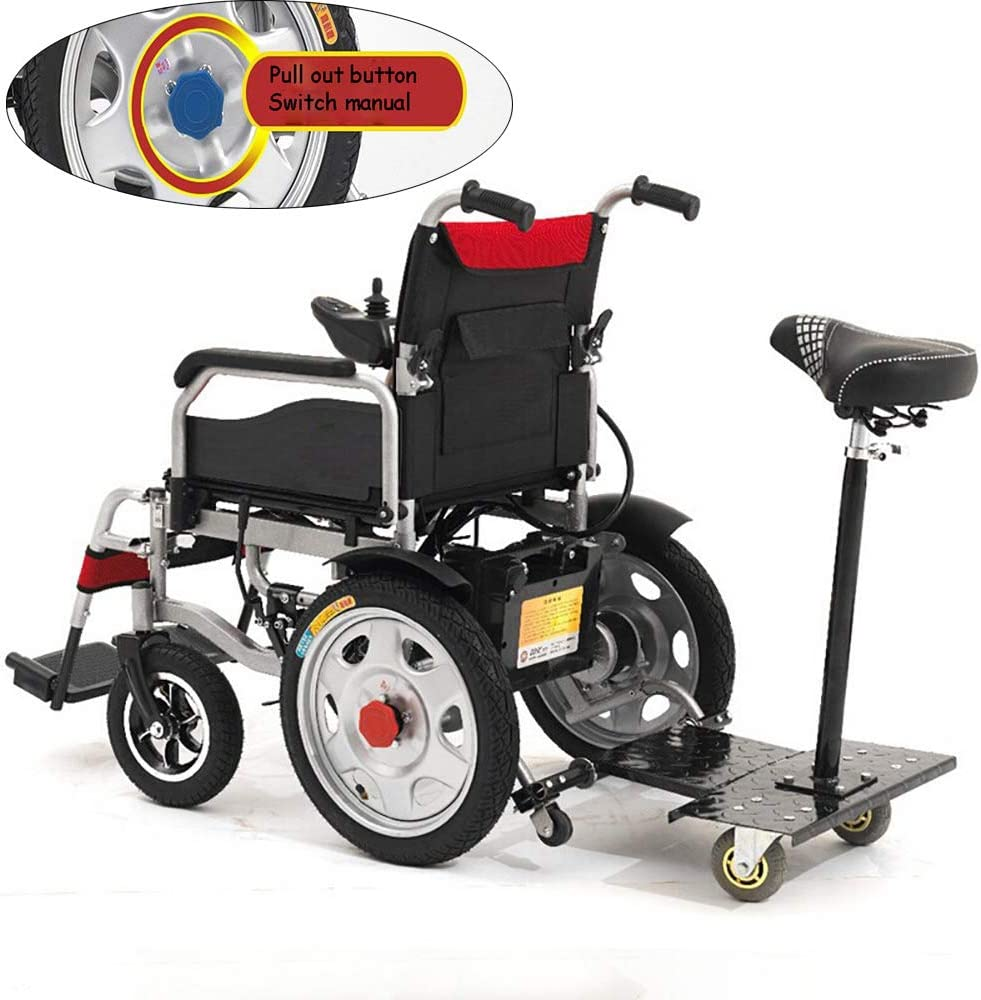 Silla de ruedas eléctrica manual eléctrica de doble uso para dos personas Inteligente, ligera, eléctrica, sillas de ruedas, palanca de mando de 360 ° (con asiento/control),Ordinary