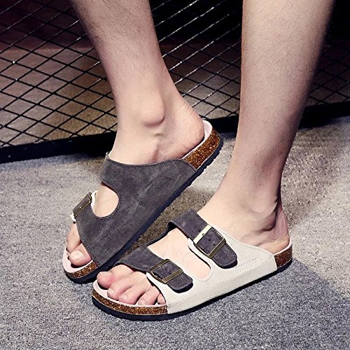 Xing Lin Sandalias De Cuero Los Hombres Sandalias De Verano Piso Antideslizante Y Estupendo Para Parejas Calzado De Playa Corcho Zapatillas Cool Zapatillas Hembra, 36 Es Un Número Demasiado Pequeño, 1