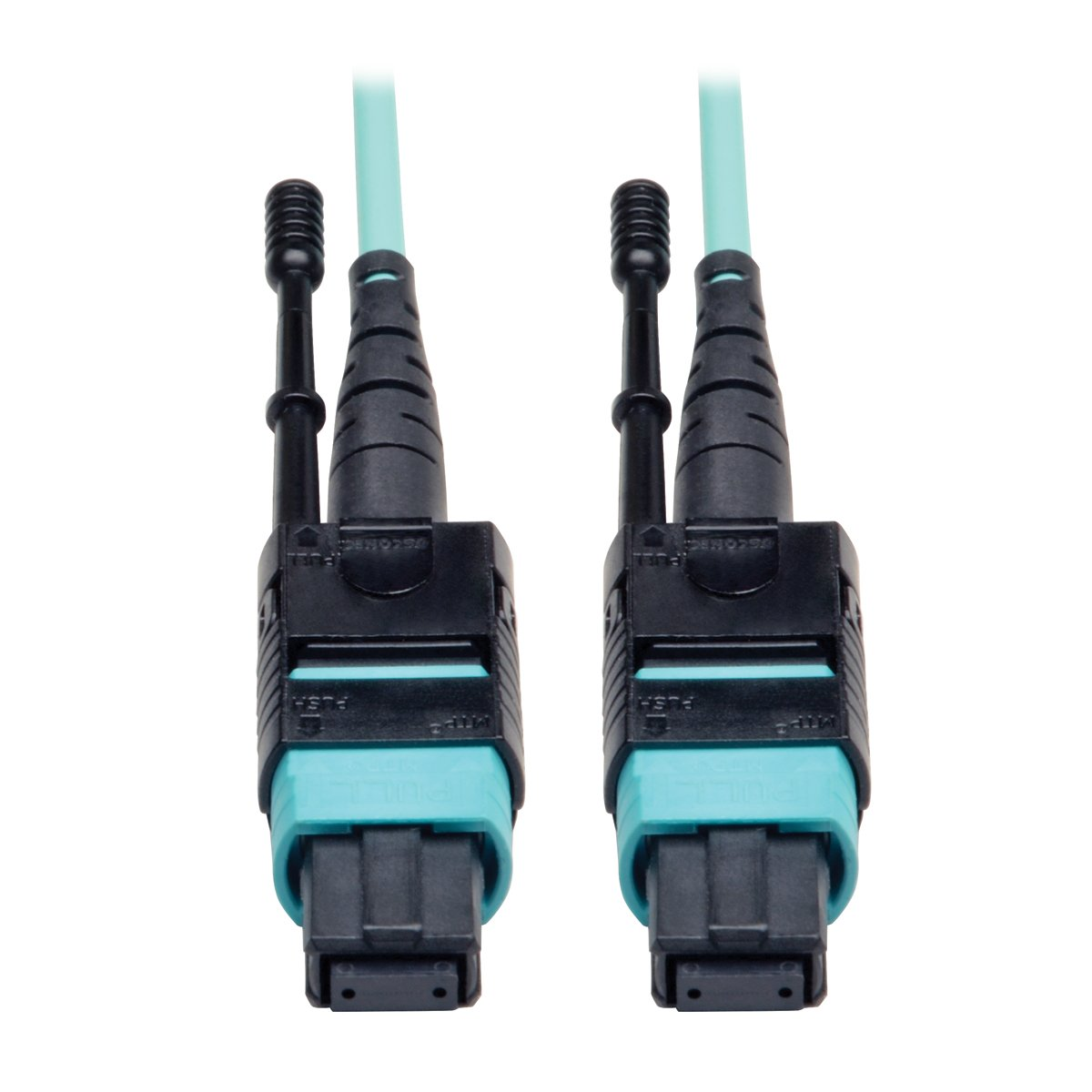 Tripp Lite MTP / MPO Patch Cable 12 Fiber,40GbE, 40GBASE-SR4,OM3 Plenum-rated - Aqua, 10M (33-ft.)(N844-10M-12-P)