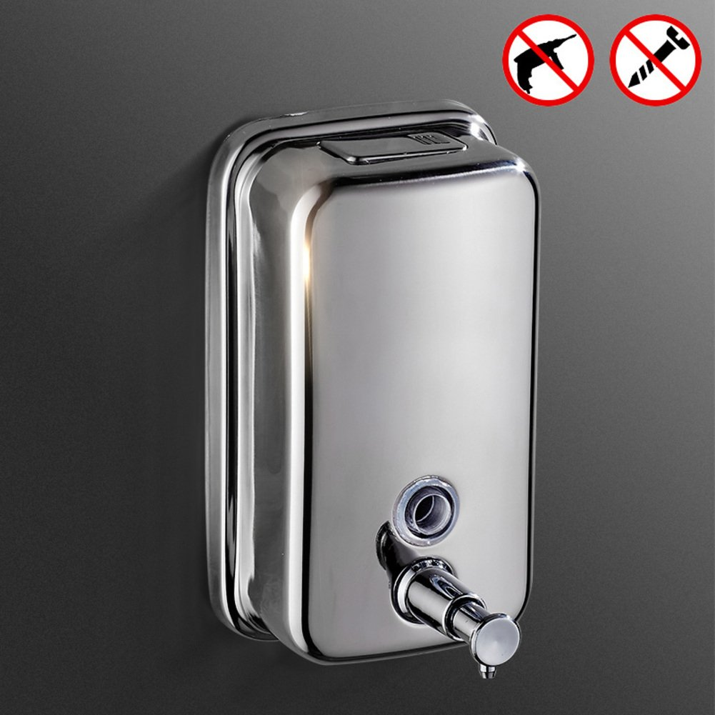 Stainless steel Shower dispensers,Punch-free Press soap dispenser,Wall-mounting type Detergent bottle,Bathroom Hotels Shampoo shower box-1000ML