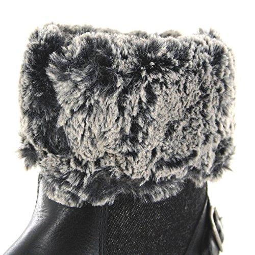 Denim Boot Damen Damenstiefel FB Creek Schwarz Boots Fellstiefel Black Wrangler Fashion WL172506 Gefütterter xnICqUg