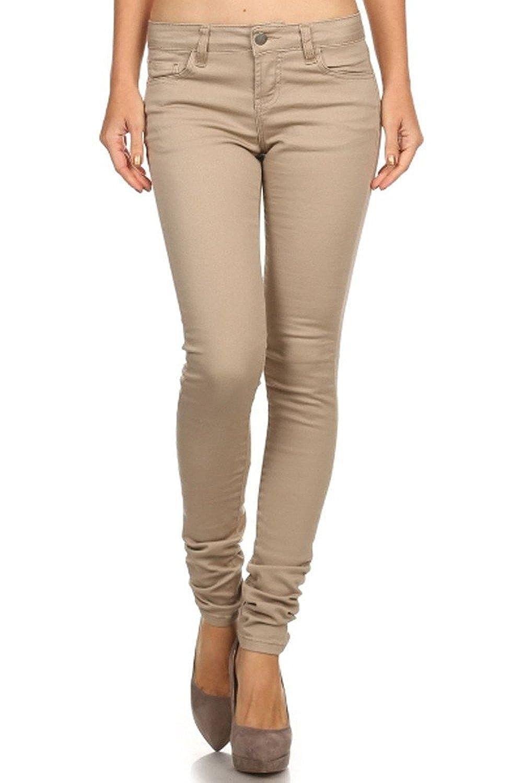bb4c5cd0cbba Pasion Premium Juniors Womens Khaki Twill Denim Jeans Stretch Skinny Pants  at Amazon Women's Jeans store