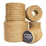Twisted Manila Hemp Rope (1 in X 600 ft) - Golberg - Thick Heavy-Duty Rope - Tan Brown Natural Rope - Outdoor Cordage for Dock, Crafting, Decorative Landscaping, Tree Hanging Swing, Climbing
