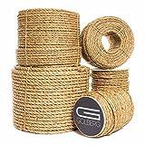 Golberg Natural Fiber Tan Manila Rope in Multiple Diameters in 10 Feet, 25 Feet, 50 Feet, 100 Feet, 600 Feet Lengths