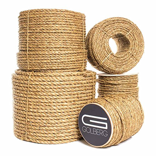 - Twisted Manila Hemp Rope (1 in X 25 ft) - Golberg - Thick Heavy-Duty Rope - Tan Brown Natural Rope - Outdoor Cordage for Dock, Crafting, Decorative Landscaping, Tree Hanging Swing, Climbing