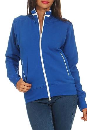 Happy Clothing Damen Sweatjacke mit Reißverschluss und Kragen ohne Kapuze  im Sportlichen Design, Elegante Jacke aus Baumwolle für Sport und Freizeit   ... 75782f2e76