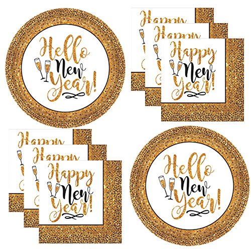 New Years Eve Essential Party Pack Supplies For New Years Party For 25 Black and Gold Hello New Year Plates and Napkins