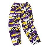 zubaz pants purple - NCAA LSU Tigers Men's Zubaz Camo Print Team Logo Casual Active Pants, X-Large, Purple/Gold/Black