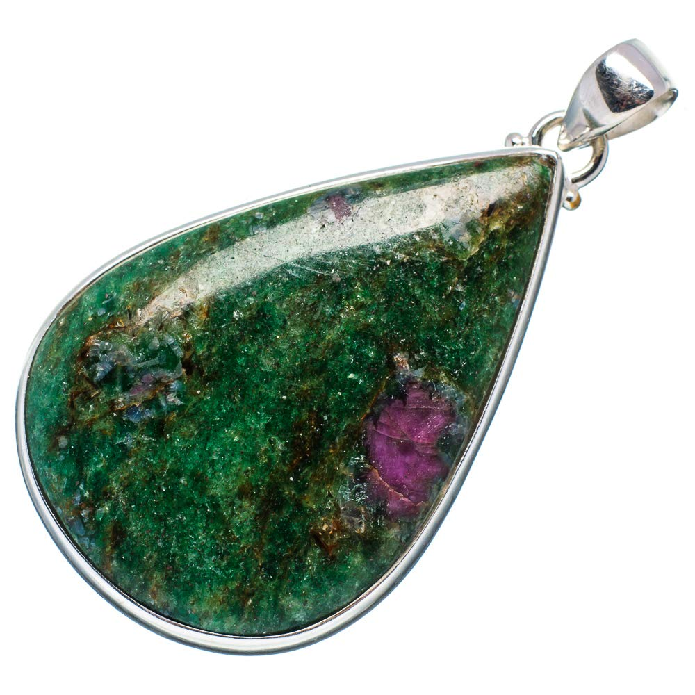 Vintage PD673366 925 Sterling Silver Bohemian - Handmade Jewelry Ana Silver Co Ruby Fuchsite Pendant 2 1//4