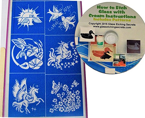 Dove, Hummingbird, Unicorn & Butterfly Glass Etching Stencils + How to Etch CD with Patterns