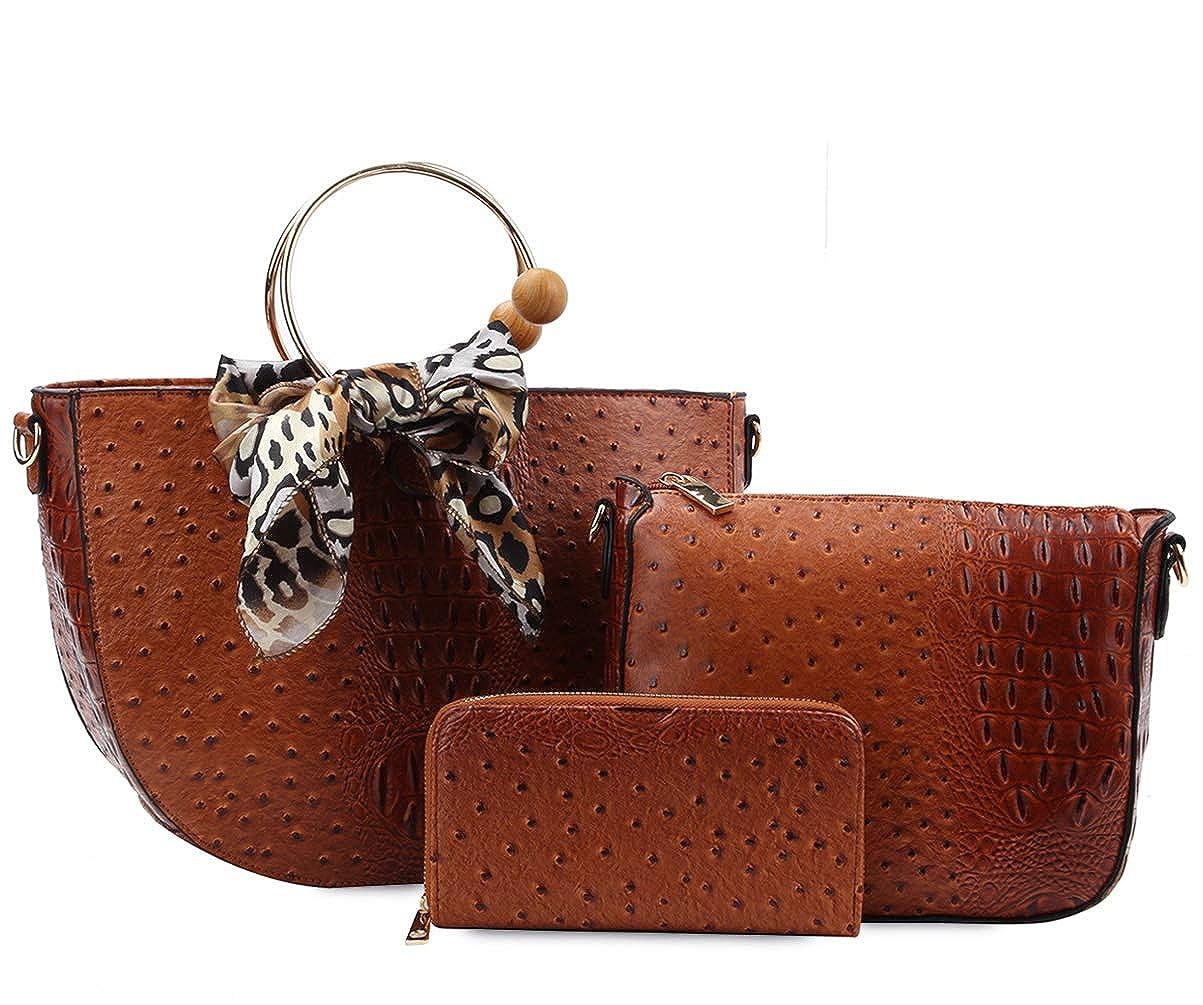 Brown Ii Handbag Republic Ostrich Embossed Set  Scarf Accent HalfMoon Tote, Crossbody, Wallet
