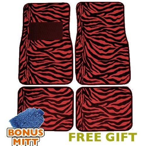 Red Zebra Stripe - Unique Imports A Set of 4 Universal Fit Animal Print Carpet Floor Mats for Cars/Truck - Red Zebra Stripes & Bonus Detailing WASH MITT