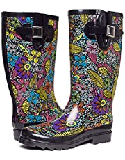 Waterproof Tall Rubber Rain Boots for Women Ladies Garden Shoes Floral Printed