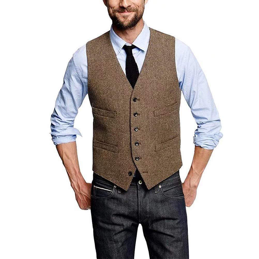 Onlylover Wool Herringbone Tweed Mens Vest Slim Trim Fit Men Party