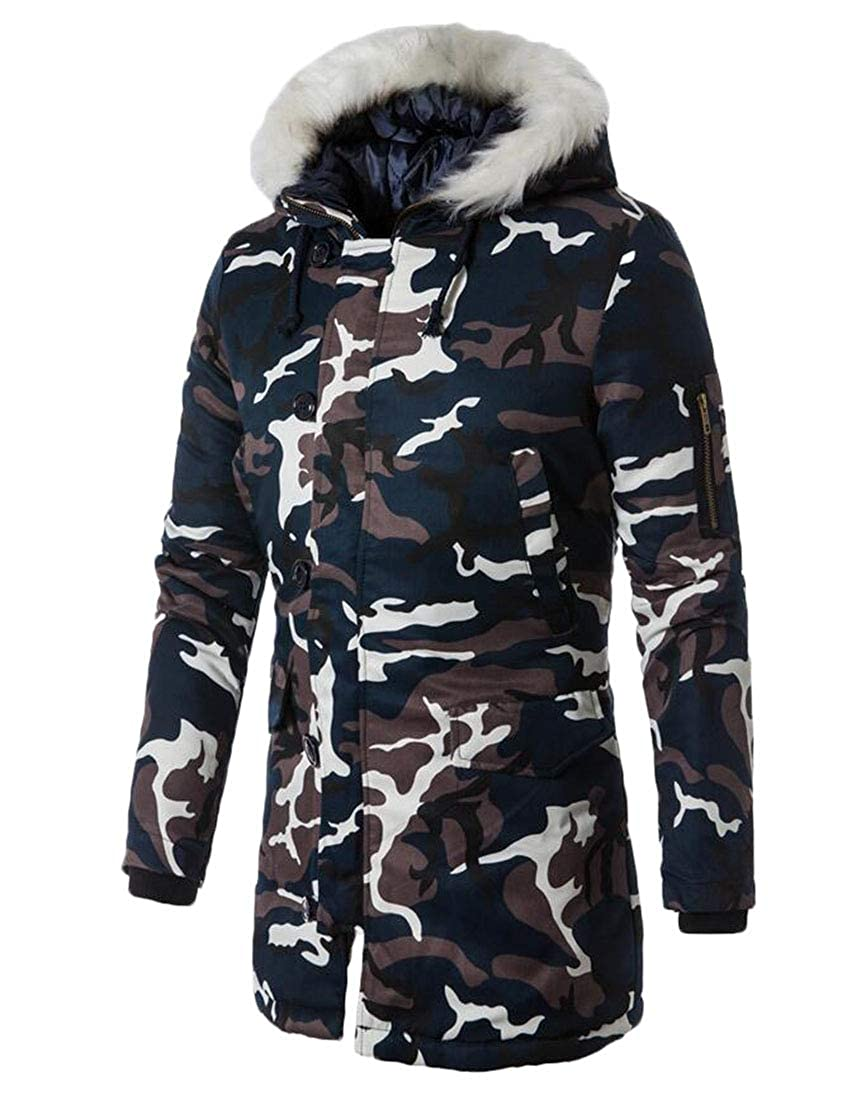 XiaoTianXinMen XTX Mens Winter Faux Fur Hooded Camo Print Quilted Long Down Jacket