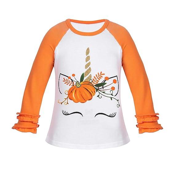 CHICTRY Camiseta Bebe Niñas Unicornio Manga Larga Halloween Camiseta Blanca Naranja Niña Blusa Algodón T-