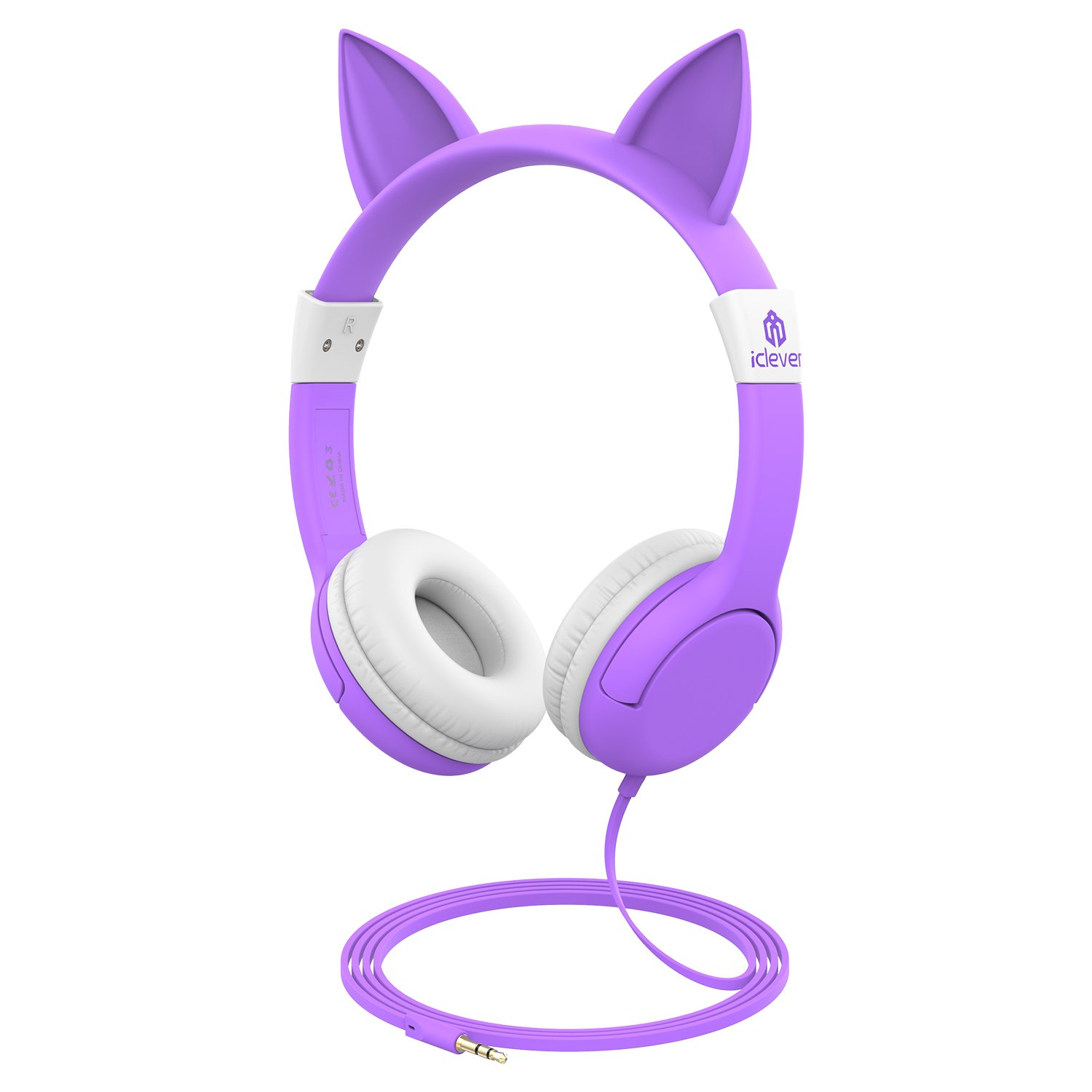 iClever Kids Headphones - Cat-inspired Wired On-ear Headphones for kids, 85dB Volume Control, Food Grade Silicone, Lightweight, Cat-inspired Design, 3.5mm Jack - Childrens Headphones, Purple