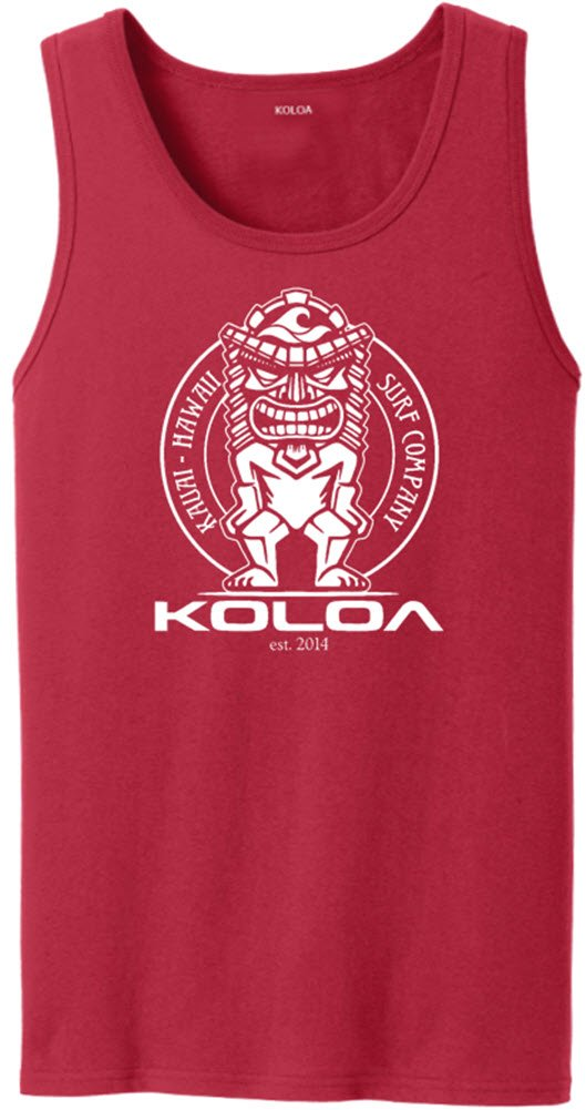 Joe's USA Koloa Surf Tiki Logo Heavyweight Cotton Tank Top-Red/w-L