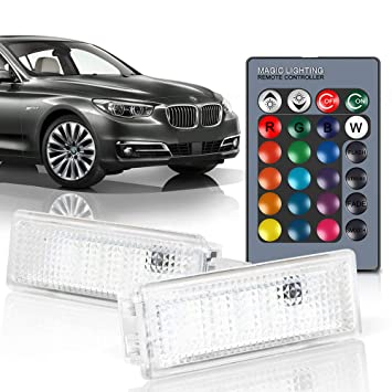 Luces de Puerta LED RGB Lamparas de Cortesia Luz Interior Decorativa para B-M-W 4 5 6 7 Series M5, Paquete de 2: Amazon.es: Coche y moto