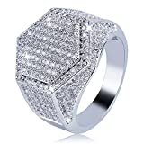 JINAO Iced Out CZ hexagon Mens Bling Ring Hip Hop (White Gold, 8)