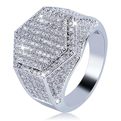JINAO Iced Out CZ hexagon Mens Bling Ring Hip Hop (White Gold, 9) by Jin'ao