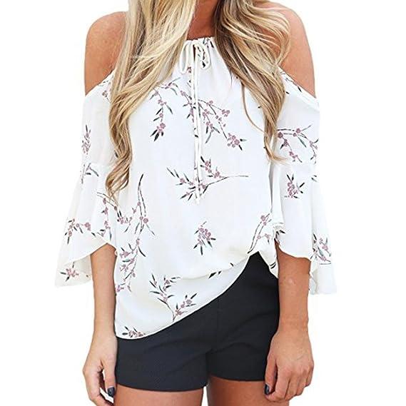 Camisas de mujer, Dragon868 Moda Las mujeres de impresión floral de hombro camiseta manga corta