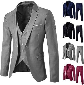 Tefamore Traje 3 Piezas Hombre Slim Fit Vestido Hombre Elegante ...