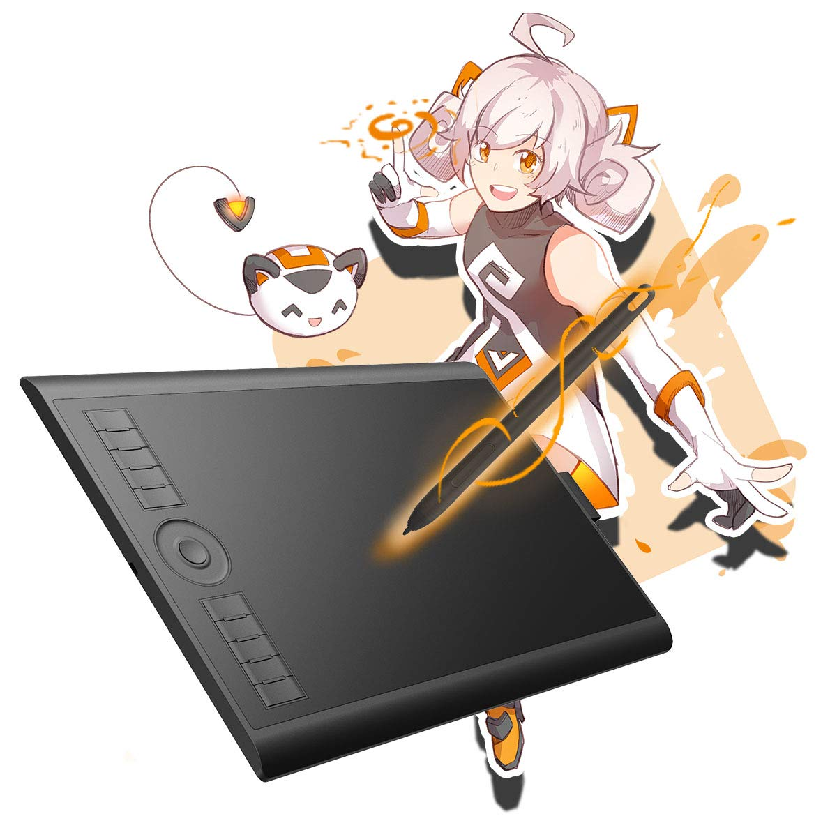 GAOMON M10K2018 10 x 6.25 inches Graphic Drawing Tablet 8192 Levels of Pressure Digital Pen Tablet with Battery-Free Stylus
