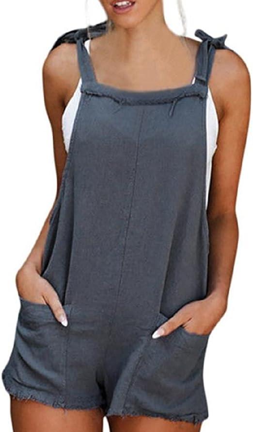 Women Tie Knot Solid Tunic Party Mini Dress Jumpsuit Playsuit Loose Short Romper
