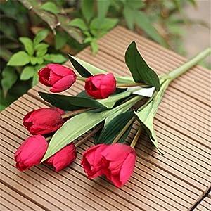 super1798 1 Bouquet 9 Heads Fake Tulip Artificial Silk Flower Home Office Wedding Decor 40