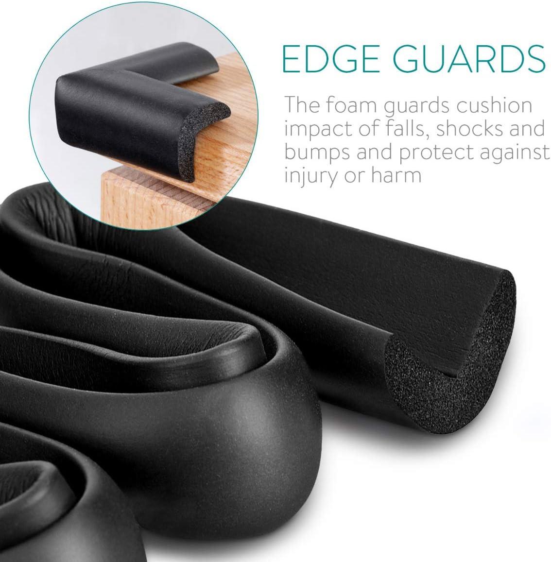 1x Rollo de 6M con 8x topes para esquina Navaris protectores para esquinas y bordes Protector negro Amortiguadores con adhesivo doble cara