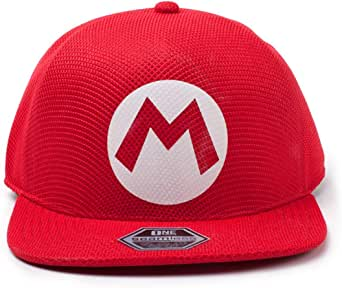 Difuzed Unisex Nintendo Super Bros. Mario logotyp sömlös keps basebollkeps, röd (röd), en storlek