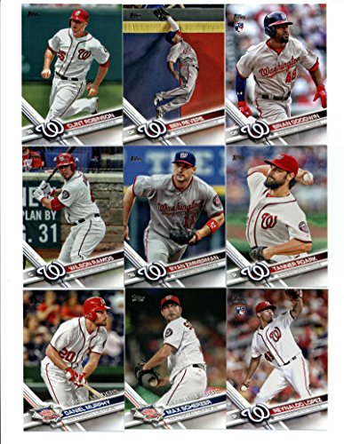 2017 Topps Washington Nationals Complete Master Team Set of 38 Cards (Series 1, 2, Update): Bryce Harper(#34), Stephen Strasburg(#38), Daniel Murphy(#62), Daniel Murphy(#84), Reynaldo Lopez(#120), Max Scherzer(#145), Ryan Zimmerman(#168), Wilson Ramos(#191), Tanner Roark(#212), Clint Robinson(#252), Brian Goodwin(#289), Ben Revere(#324), Danny Espinosa(#327), Koda Glover(#364), Jayson Werth(#366), Blake Treinen(#398), Anthony Rendon(#483), Gio Gonzalez(#527), Shawn Kelley(#541), plus more - Washington Nationals Card