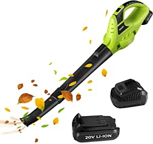 Leaf Blower, 20V Cordless Leaf Blower with Battery & Charger, Electric Leaf Blower for Lawn Care, Electric Leaf Blower Battery Powered for Snow Blowing & Cleaning