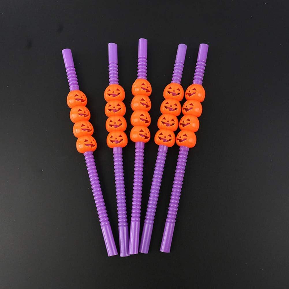 Enticerowts Lot de 5 pailles en plastique r/éutilisables non toxiques Motif citrouille 5pcs Black Pumpkin#