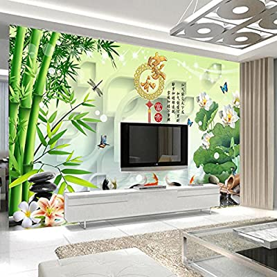 XLi-You 3D TV Wall Chinese companies and rich bamboo lotus 9 fish figure painting living room walls wallpaper