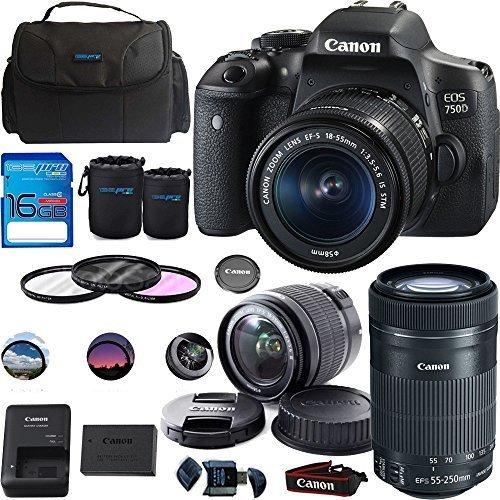 Canon EOS 750D/Rebel T6i DSLR Camera Bundle with Canon EF-S 18-55mm IS STM Lens + Canon EF-S 55-250mm f/4-5.6 IS STM Lens - Deal-Expo Bundle