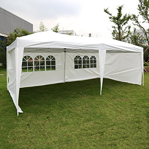 Blue Canopy Gazebo - Kinbor 10'x20' Canopy Wedding Party Tent Heavy Duty Outdoor Gazebo With 4 Sidewalls White/Blue (White)