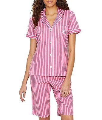 750fc096d8 Lauren Ralph Lauren Women s Short Sleeve Notch Collar Bermuda Shorts PJ Set  Hot Pink Stripe X