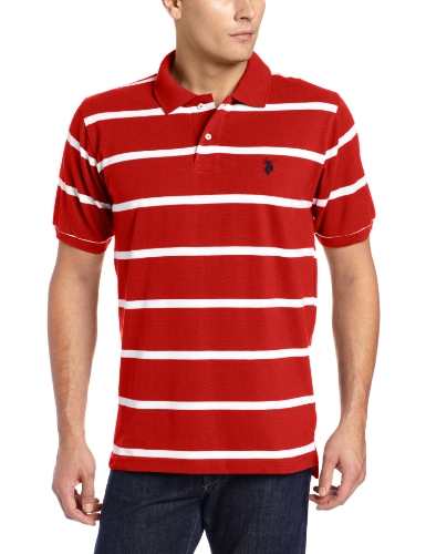 U.S. Polo Assn. Men's Short Sleeve Striped Pique Polo Shirt
