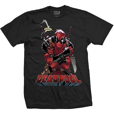 Marvel Comics Deadpool Jumping Swords T Shirt Grey Cotton Mens XX Large Official
