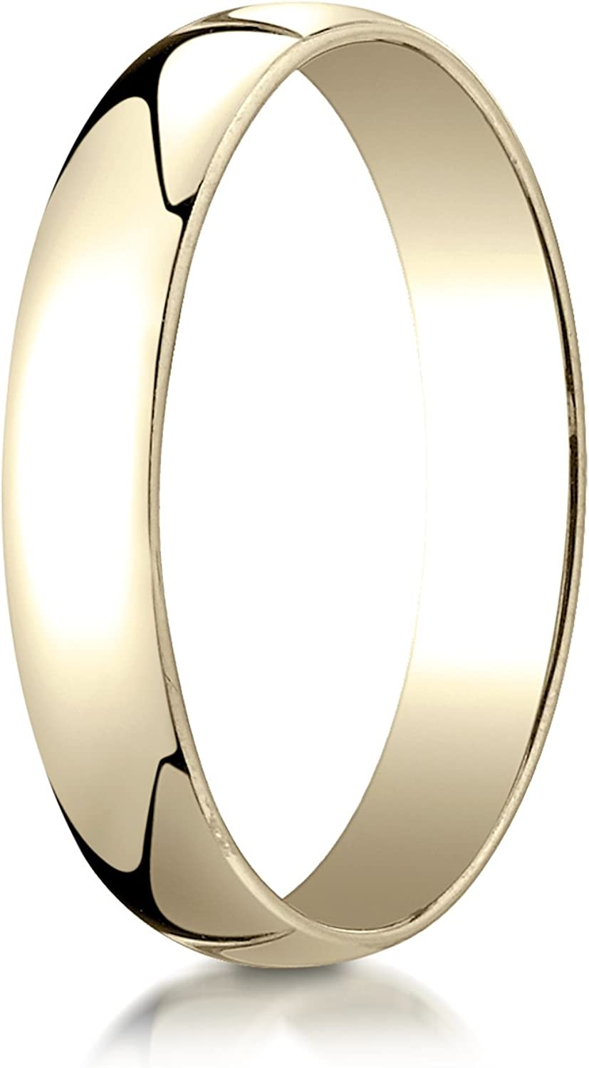 PriceRock 14K Yellow Gold 4mm Low Dome Light Wedding Band Ring for Men /& Women Size 4 to 15