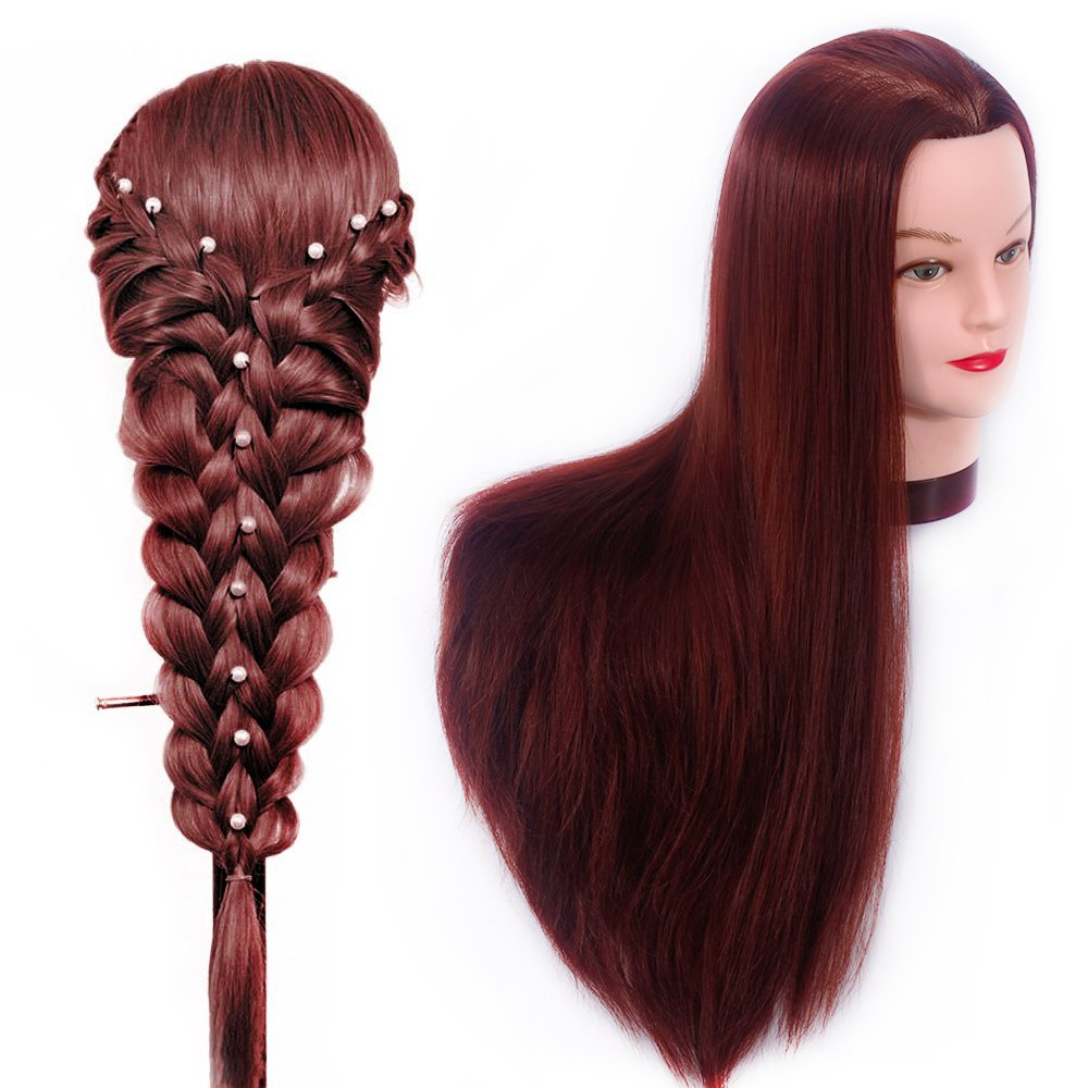 HAIREALM 26'' Mannequin Head Hair Styling Training Head Manikin Cosmetology Doll Head Synthetic Fiber Hair (Table Clamp Stand Included) SC3318P by HAIREALM