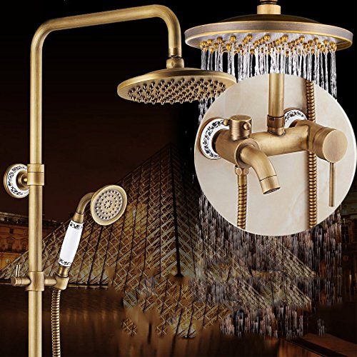 C GFEI All bronze antique shower nozzle set   European style retro shower, hot and cold faucet, bathroom shower, shower head,B