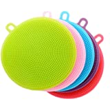 5 Pack Silicone Dish Sponge Washing Brush Scrubber Household Cleaning Sponges, HOMREE Antibacterial Mildew-Free Brushes