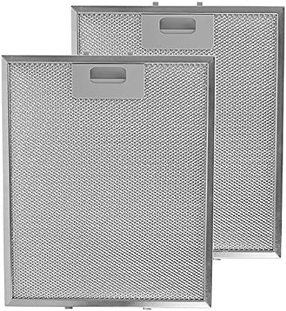 SPARES2GO Malla Metálica Filtro para Whirlpool Campana Extractora / Cocina Extractor Ventilación (Pack de 2 Filtros, Plata, 300 x 250 mm): Amazon.es: Hogar